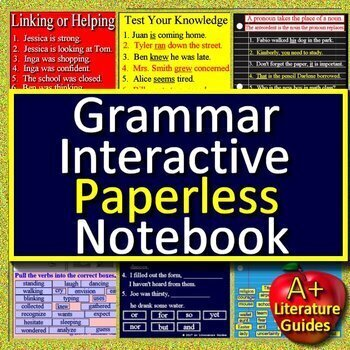 Grammar Paperless Activities Digital Notebook for Google Drive