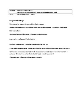 Grammar Lesson & Worksheets: Punctuating Pauses