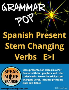 Grammar Pop * Spanish Present Stem Changers E>I * Verbos C