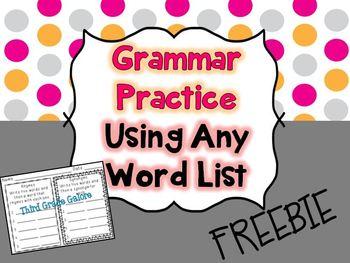 Grammar Practice Using Any Word List {FREEBIE}