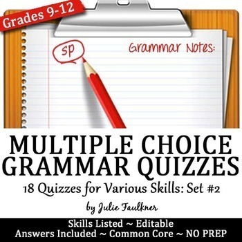 Grammar Quizzes, Multiple Choice, Proofreading, ACT Prep: VOL #2
