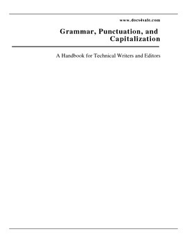Grammar, Punctuation, and Capitalization handbook for tech