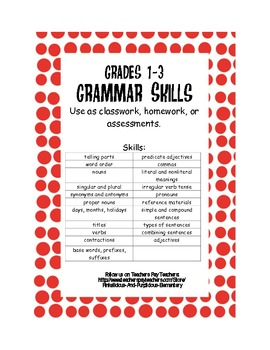 Grammar Quizzes or Worksheets Grades 1-3 Grammar Skills