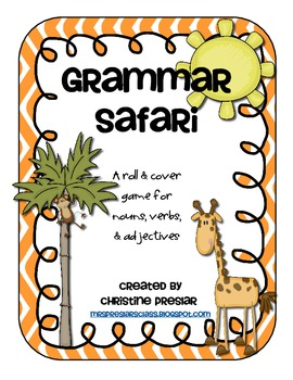 Grammar Safari Roll and Cover Game {Nouns, Verbs, and Adjectives}