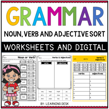 Grammar Worksheets - Parts of Speech Cut and Paste