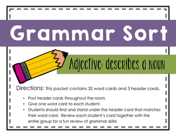 Grammar Sort: Adjectives