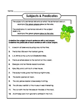 Grammar Subjects and Predicates