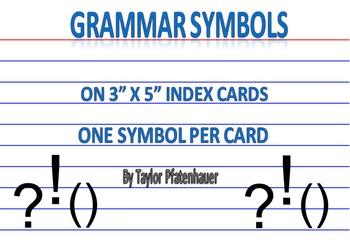 Grammar Symbols - 3x5 Cards