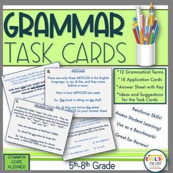 Grammar Task Cards-12 Grammatical Task Cards with 18 Appli