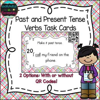 Grammar Task Cards: Past and Present Verb Tenses Set