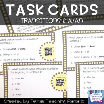 Grammar Task Cards with QR Codes A/An & Transition Words