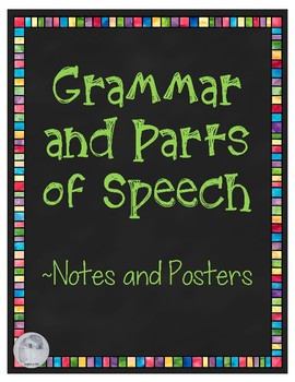 Grammar Terms and Parts of Speech Notes and Posters