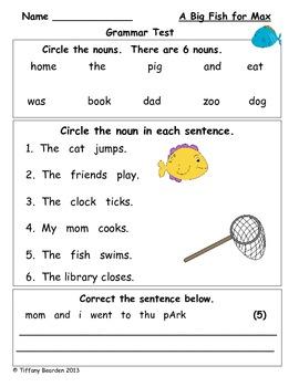 Grammar Test for A Big Fish for Max (Scott Foresman Readin