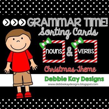 Grammar Time Sorting Cards:  Nouns & Verbs Christmas Theme