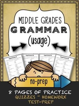 Grammar (USAGE) - 8 Middle Grades Printables for Quizzes,