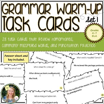Grammar Warm-Up Task Cards