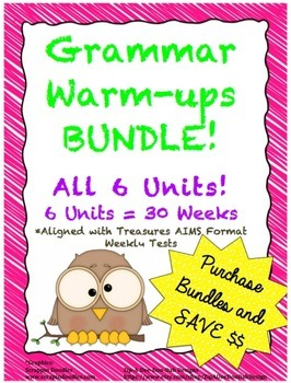 Grammar Warm-ups - BUNDLE - 6 Units/30 Weeks of Daily Grammar