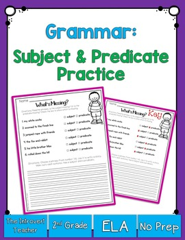 Grammar: What's Missing? Subject or Predicate