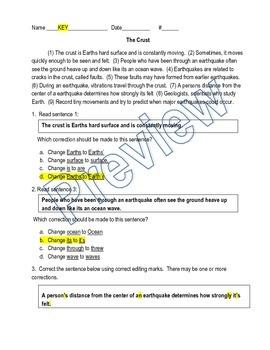 Grammar / Writing SOL Review: Paragraph Edit (Earth's Crus