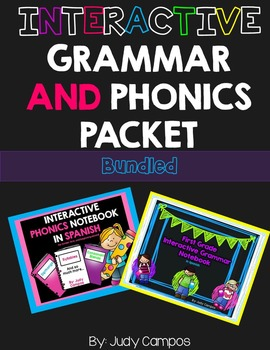 Grammar and Phonics Interactive Notebooks in *SPANISH**