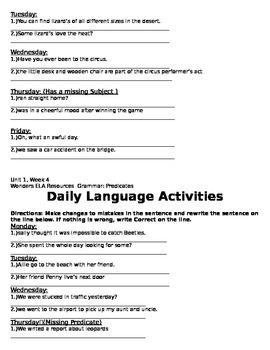 Daily Language Activities Wonders Unit 1 week 1-5