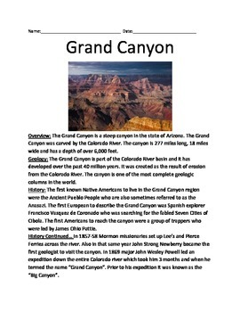 Grand Canyon - Lesson Information Article Facts Questions