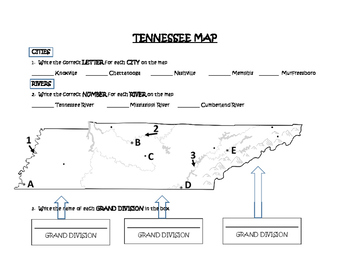 Grand Divisions of Tennessee Map (Includes Cities & Rivers)