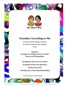 Grandma According to Me:   Projects for National Grandparents Day