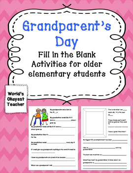 Grandparent's Day: Fill in the Blank Activities for Older