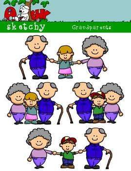 Grandparents Clipart / Graphics 300dpi Color, Gray Scale,