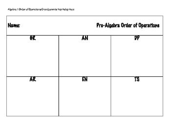 Grandparents Day Algebra 1 Order of Operations Relay Race
