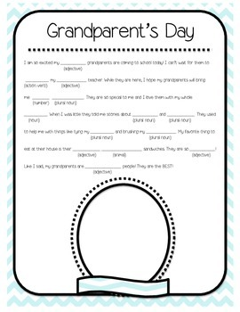 Grandparent's Day MadLib Chevron Style