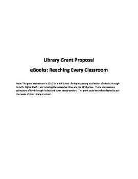 Grant Proposal for Elementary Library--EBooks Reaching Eve
