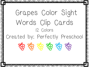 Grapes Color Sight Word Clip Cards