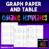 Graph Paper and Table Handout with Editable Template