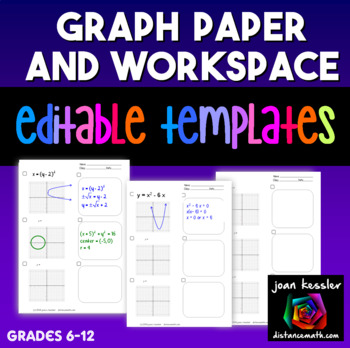 Graph Paper and WORK SPACE Handout and Editable Template