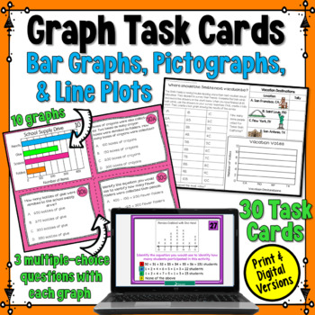 Graph Task Cards: Scaled Picture Graphs, Scaled Bar Graphs