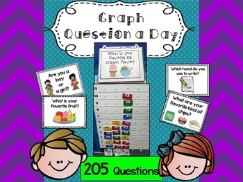205 Graph Questions a Day (FULL PAGE) w/ 120 recording sheets