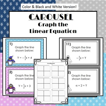Graph the Line (Slope Intercept Form): Winter Themed Carou