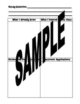 Graphic Organizer:  Essay and Professional Development Cur