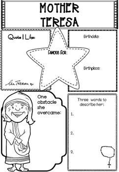 Graphic Organizer : Mother Teresa