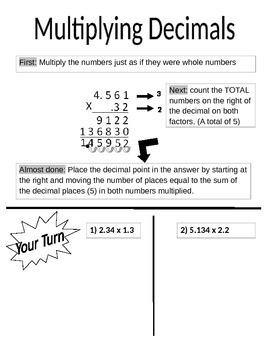 Graphic Organizer Multiplying decimals
