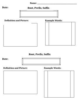 Graphic Organizer - Prefix, Root, Suffix