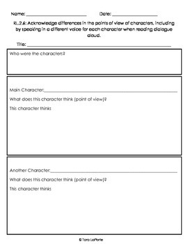 Graphic Organizer RL2.6 Point of View