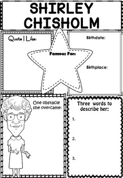 Graphic Organizer : Shirley Chisholm - Inspiring African A