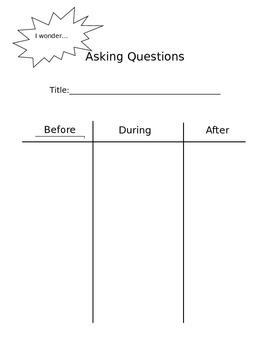 Graphic Organizer for Generating Questions