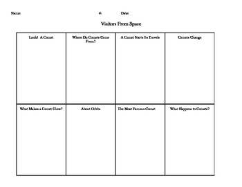 Graphic Organizer for Visitors From Space by Jeanne Bendick