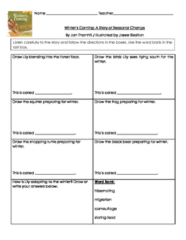 Graphic Organizer for Winter's Coming: A Story of Seasonal Change