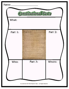 Graphic Organizer for the Constitution