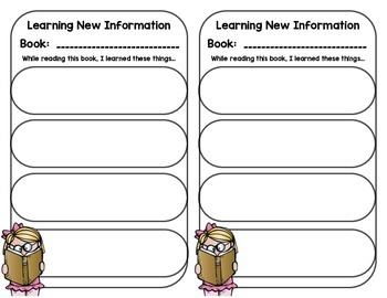 Learning New Information - Reading Graphic Organizer